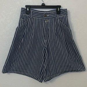 Vintage High Waisted Wide Leg Pin Stripe Shorts